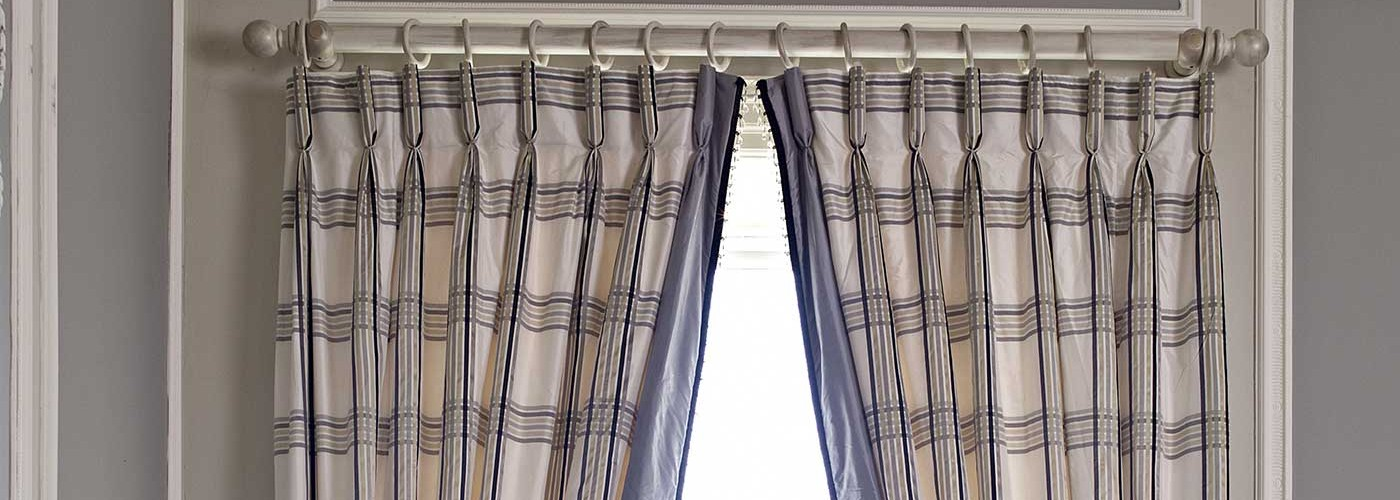 Purple white curtain supply and fitting Bath